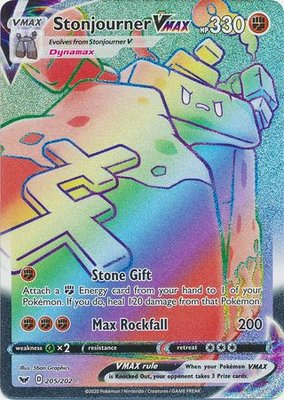 >> Stonjourner VMAX Hyper Rare (Rainbow) // Pokémon kaart