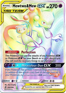 Mewtwo & Mew Rainbow GX Hyper Rare Full Art (TAG TEAM) Unified Minds
