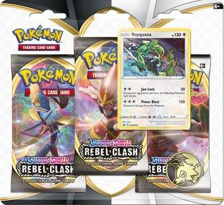 Pokémon Sword & Shield Rebel Clash - 3 Boosters met Coin & Rayquaza zeldzame en glimmende kaart