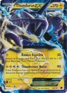 Thundurus EX Pokémon kaart